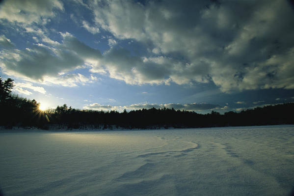 Outdoors Print featuring the photograph Sunset Viewed From The Frozen Surface by Tim Laman