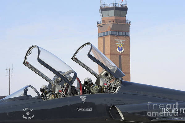 Us Air Force Print featuring the photograph T-38 Talon Pilots Make Their Final by Stocktrek Images