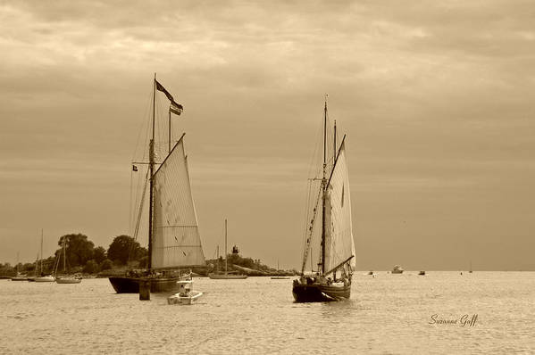 Tall Ships Print featuring the photograph Tall Ships Sailing In Sepia by Suzanne Gaff