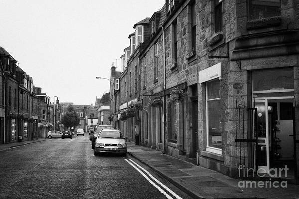 Thistle Print featuring the photograph Thistle Street Rows Of Granite Houses And Shops Aberdeen Scotland Uk by Joe Fox
