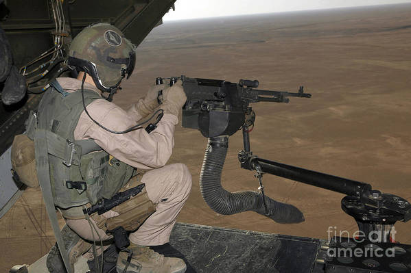 Iraq Print featuring the photograph U.s. Marine Test Firing An M240 Heavy by Stocktrek Images