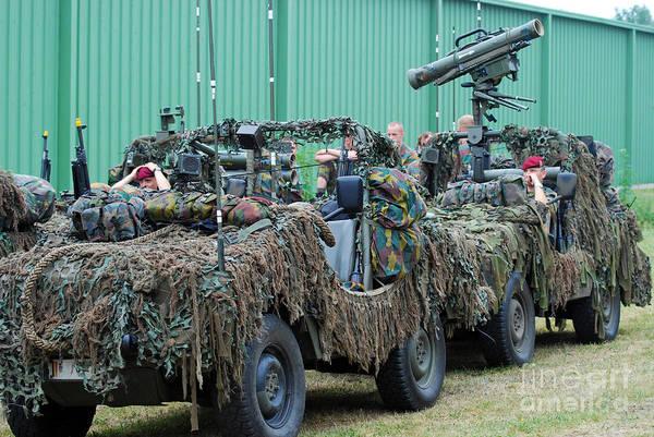 Recce Print featuring the photograph Vw Iltis Jeeps Of A Recce Scout Unit by Luc De Jaeger