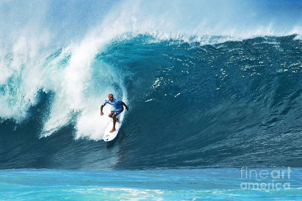 Kelly Slater Print featuring the photograph Pro Surfer Kelly Slater Surfing In The Pipeline Masters Contest by Paul Topp