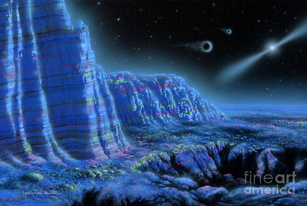 Lynette Cook Print featuring the painting Pulsar Planets II by Lynette Cook