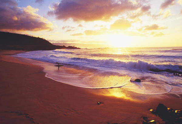 Afternoon Print featuring the photograph Waimea Bay Sunset by Bob Abraham - Printscapes