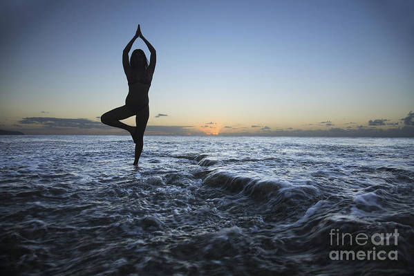 Alone Print featuring the photograph Female Doing Yoga At Sunset by Brandon Tabiolo - Printscapes