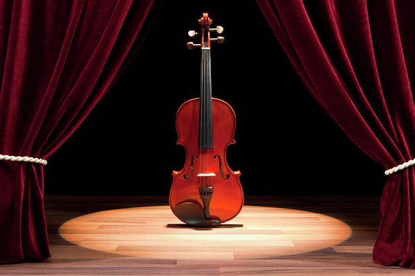 Horizontal Print featuring the photograph A Double Bass On A Theatre Stage by Caspar Benson