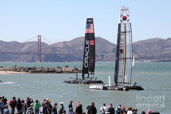 San Francisco Print featuring the photograph America's Cup Racing Sailboats In The San Francisco Bay - 5d18253 by Wingsdomain Art and Photography