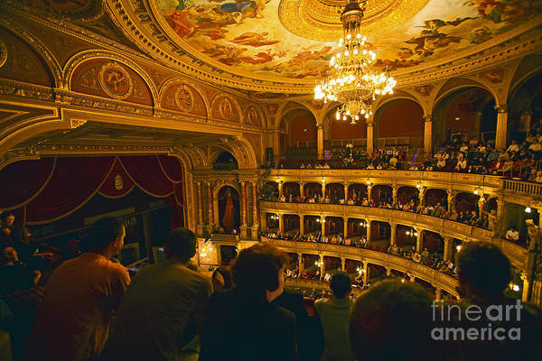 Opera House Print featuring the photograph At The Budapest Opera House by Madeline Ellis