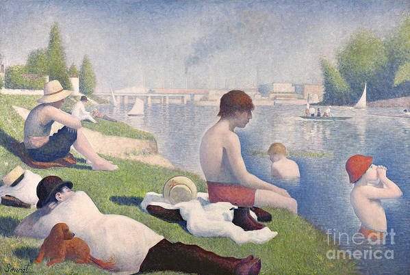 Pointillist; Swimming; Neo Impressionist; Bank; Seine; River; Dog; Puppy;l Ying; Baignade; Crt; Dgt; Golden Section Print featuring the painting Bathers At Asnieres by Georges Pierre Seurat