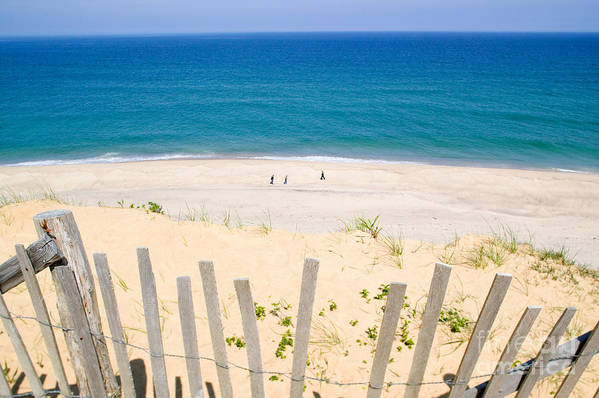 Beach Fence Print featuring the photograph beach fence and ocean Cape Cod by Matt Suess