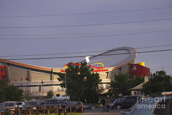 Saddledome Print featuring the photograph Bmo Parking Royal Event by Donna Munro