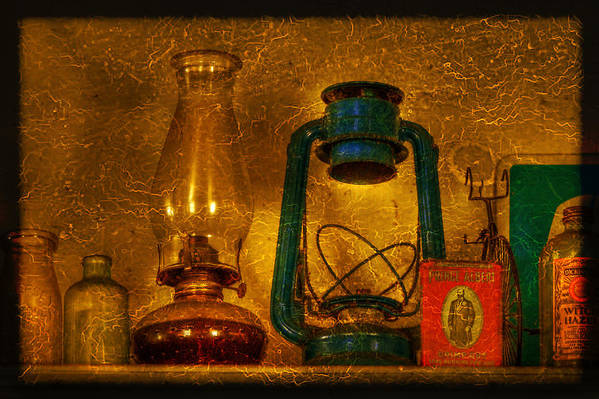 Bottle Print featuring the photograph Bottles And Lamps by Evelina Kremsdorf