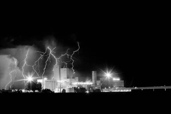 40d Print featuring the photograph Budweiser Lightning Thunderstorm Moving Out Bw by James BO Insogna