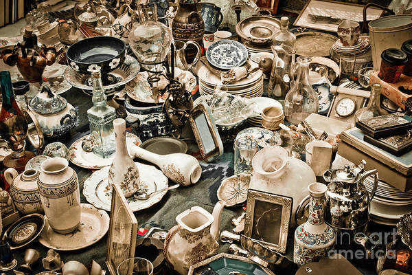Old; Antique; Vintage; Retro; Background; Style; Art; Decor; Decorating; Decoration; Grunge; Antiquities; Object; Old-fashioned; Classic; Collection; Valuable; Junk; Together; Gathered; Print featuring the photograph Chaos by Gabriela Insuratelu