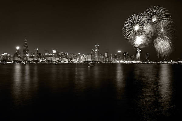 4th Print featuring the photograph Chicago Skyline Fireworks Bw by Steve Gadomski