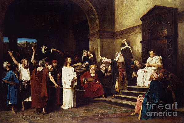 Christ Print featuring the painting Christ Before Pilate by Mihaly Munkacsy