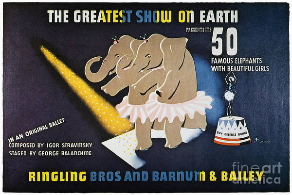 1942 Print featuring the photograph Circus Poster, 1942 by Granger