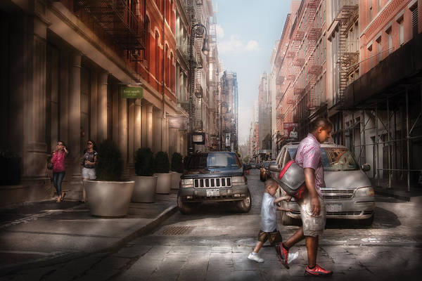 Savad Print featuring the photograph City - Ny - Walking Down Mercer Street by Mike Savad