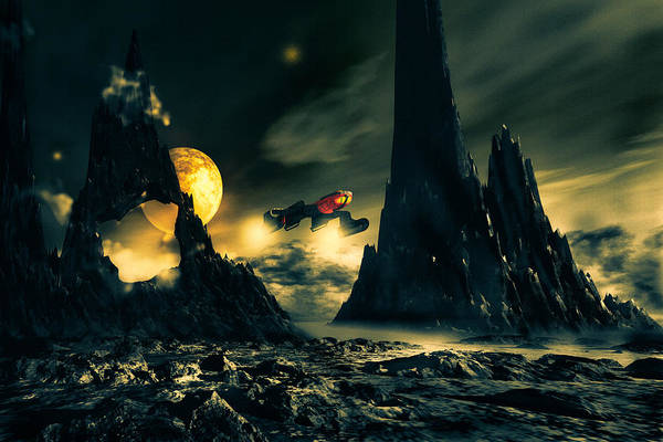 Science Fiction Print featuring the digital art Dark Planet by Bob Orsillo