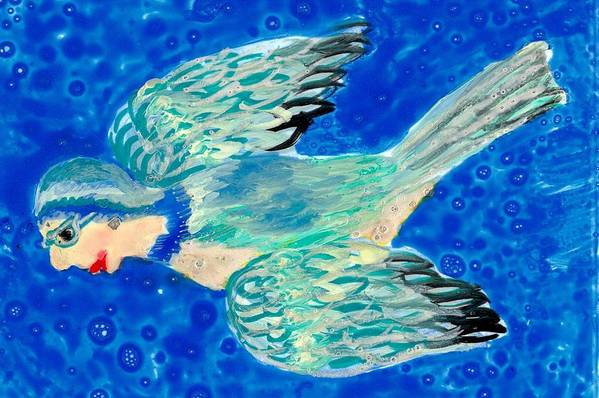 Sue Burgess Print featuring the painting Detail Of Bird People Flying Bluetit Or Chickadee by Sushila Burgess