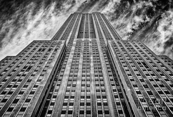 Crazy Nyc Print featuring the photograph Empire State Building Black And White by John Farnan