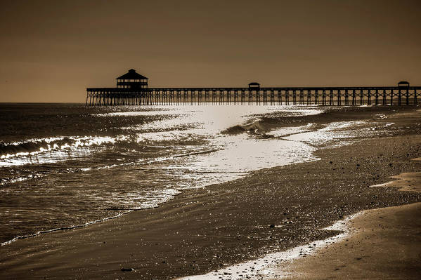 Folly Print featuring the photograph Folly Pier Sunset by Drew Castelhano