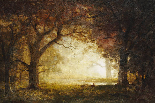 Landscape; American; Wood; Dawn; Clearing; Deer Print featuring the painting Forest Sunrise by Albert Bierstadt