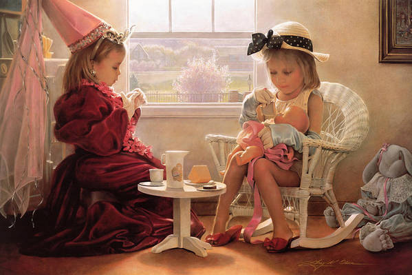 Girls Print featuring the painting Formal Luncheon by Greg Olsen