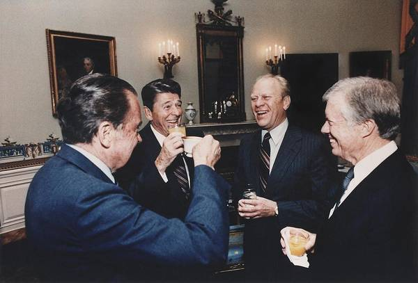 History Print featuring the photograph Four Presidents Nixon Reagan Ford by Everett