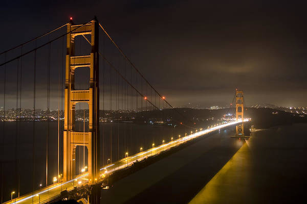 golden Gate Bridge Print featuring the photograph Golden Gate At Night by Mike Irwin