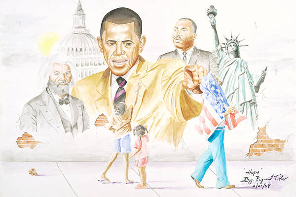 Barack Obama Print featuring the painting Hope                         by Sandra Pryer