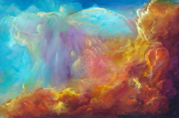 Celestial Print featuring the painting In The Beginning by Sally Seago