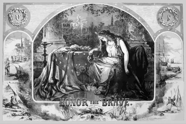 Civil War Print featuring the painting Lady Liberty Mourns During The Civil War by War Is Hell Store