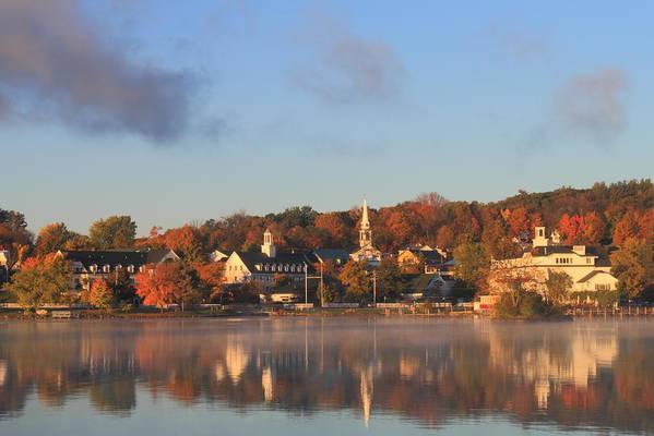 Autumn Print featuring the photograph Lake Winnipesaukee Meredith Autumn Morning by John Burk