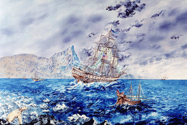 Tall Ships Print featuring the painting Maiden Voyage by Richard Barham