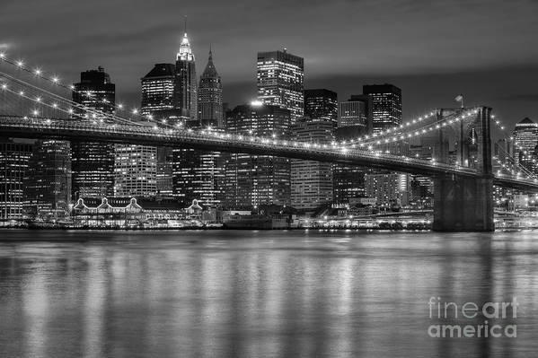 Clarence Holmes Print featuring the photograph Manhattan Night Skyline Iv by Clarence Holmes