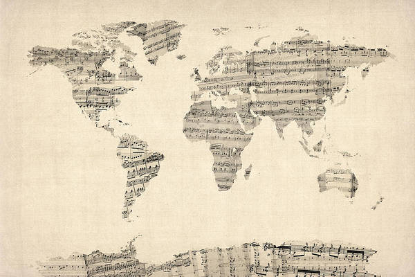 World Map Print featuring the digital art Map Of The World Map From Old Sheet Music by Michael Tompsett