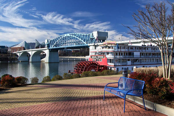 Landscape Print featuring the photograph Market Street Bridge With The Delta Queen From Coolidge Park by Tom and Pat Cory