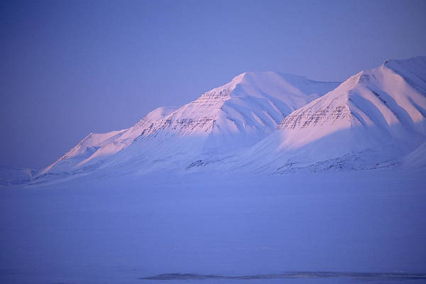 Spitsbergen Print featuring the photograph Midnight Sunset On Polar Mountains by Gordon Wiltsie