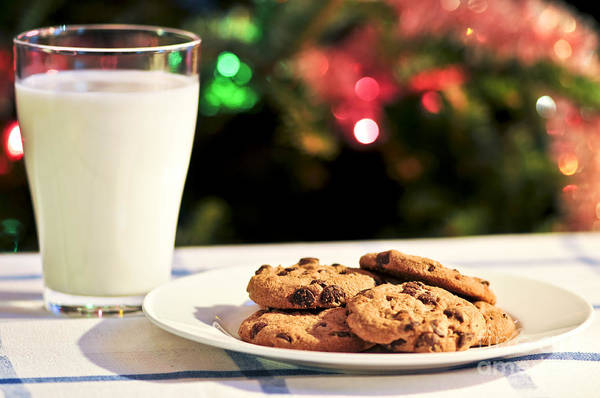 Cookies Print featuring the photograph Milk And Cookies For Santa by Elena Elisseeva