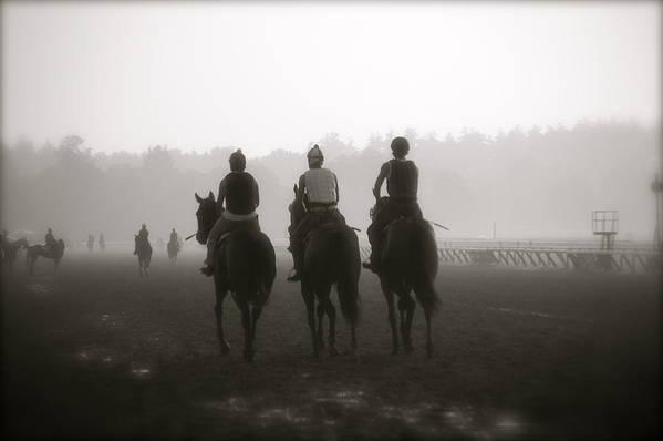 Horses Print featuring the photograph Morning Workout Saratoga Ny by Amanda Lonergan