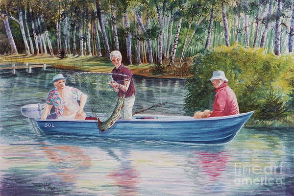 Fishing Scene Print featuring the painting Musky Madness by Marilyn Smith