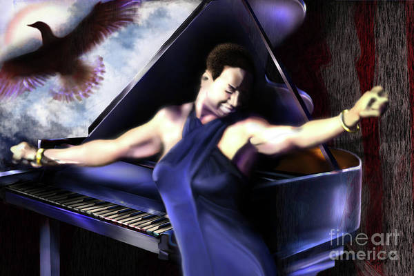 Nina Simone Print featuring the painting Nina - Feeling Good - Birds Flying High You Know How I Feel by Reggie Duffie