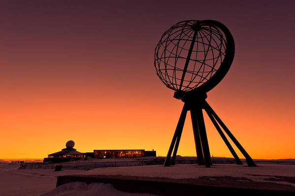 Longitude Print featuring the photograph North Cape Norway At The Northernmost Point Of Europe by Ulrich Schade