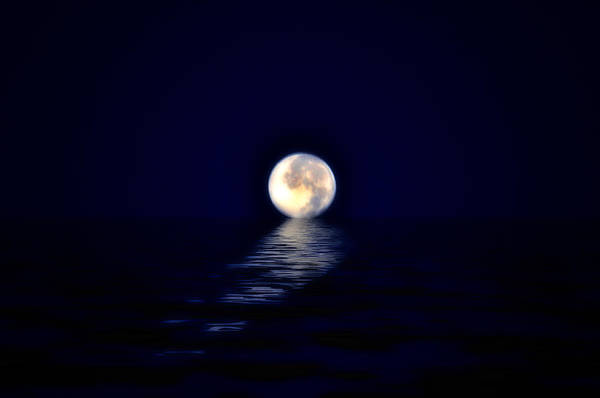 Moon Print featuring the photograph Ocean Moon by Bill Cannon