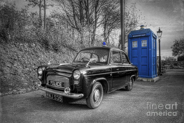 Art Print featuring the photograph Old British Police Car And Tardis by Yhun Suarez