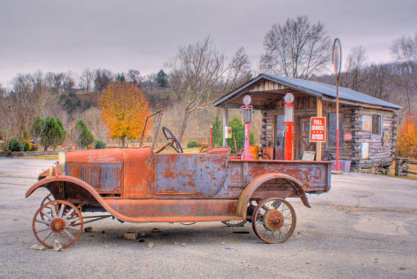 Old Print featuring the photograph Old Truck And Gas Filling Station by Douglas Barnett