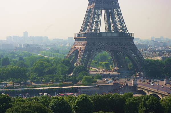 Horizontal Print featuring the photograph Paris Tour Eiffel 301 Pollution, Pollution by Pascal POGGI