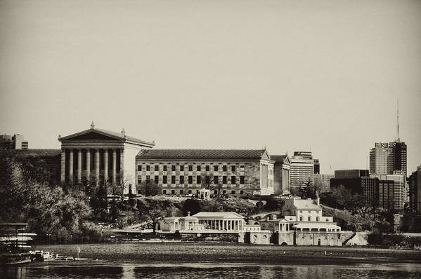 Philadelphia Print featuring the photograph Philadelphia Museum Of Art And The Fairmount Waterworks From West River Drive In Black And White by Bill Cannon